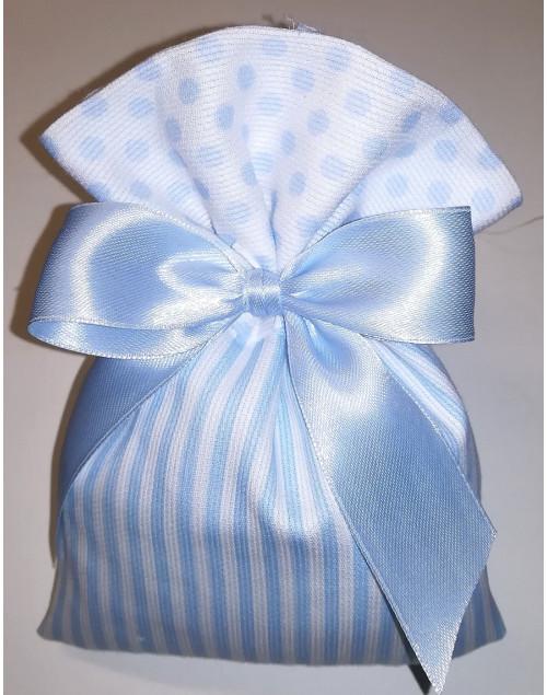 Sacchetto confetti grande Righe e Pois Azzurro