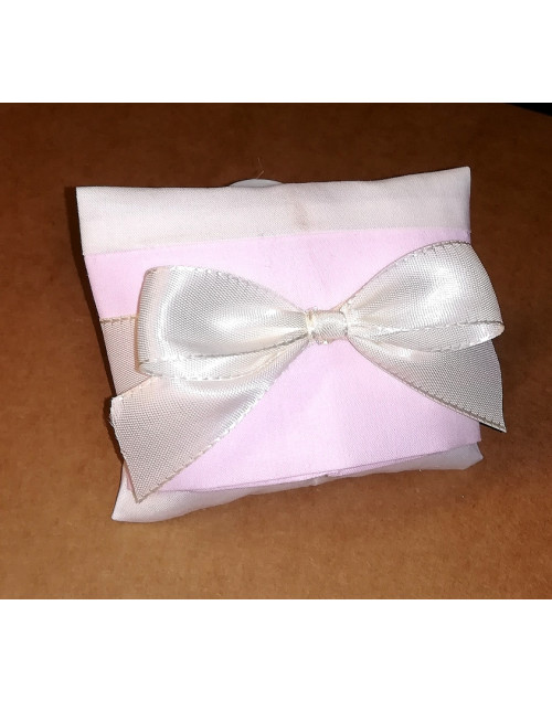 Sacchetto chiuso a busta bicolore panna/rosa