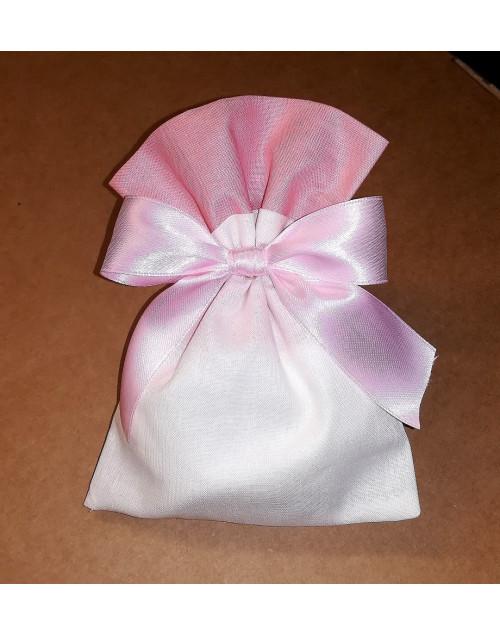 Sacchetto bicolore panna/rosa antico