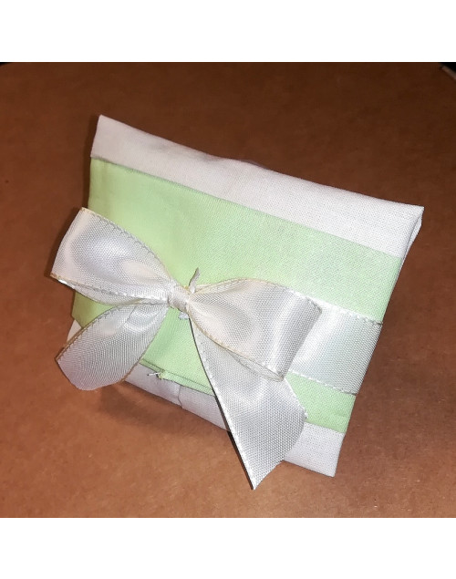 Sacchetto chiuso a busta bicolore panna/verde prato