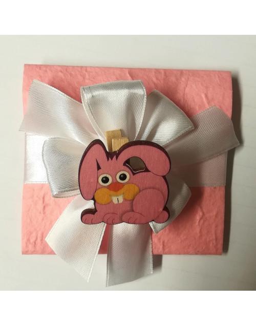 Pacchetto confetti carta di cotone con molletta coniglio
