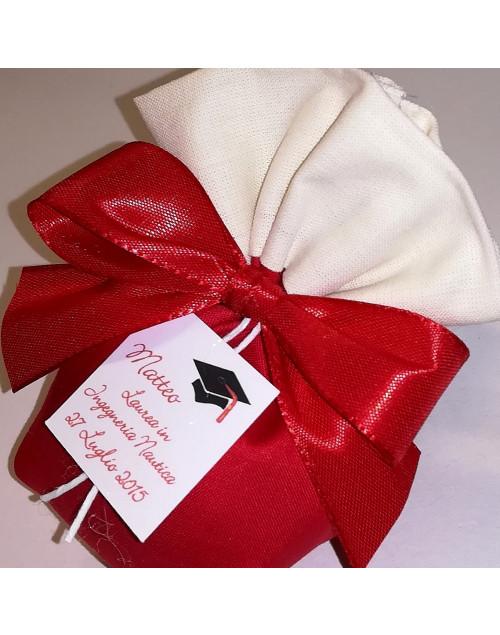 Saccotto a pouf bicolore rosso panna