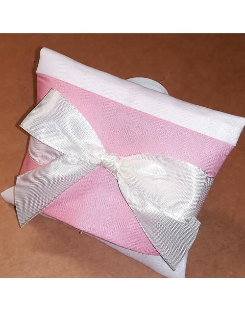 Sacchetto chiuso a busta bicolore panna/rosa antico