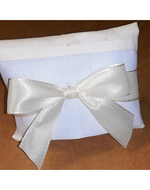 Sacchetto chiuso a Bustina in cotone bicolore panna/azzurro