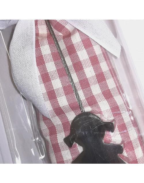 Sacchetto cotone quadretti con pinza acciaio bimba