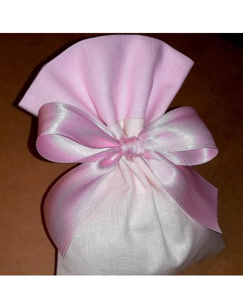 Sacchetto bicolore panna/rosa