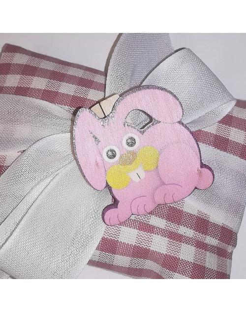 Bustina a quadretti rosa con molletta legno