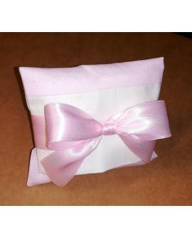 Sacchetto chiuso a busta bicolore rosa e panna