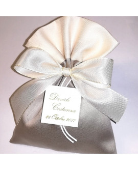 Sacchetto bicolore tortora bordo panna