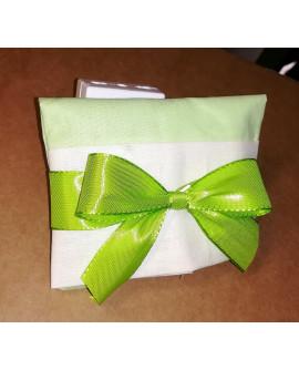 Sacchetto chiuso a busta bicolore verde prato/panna