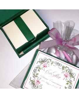 Scatolina porta foglietti verde con matita